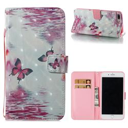 Purple Butterfly 3D Painted Leather Wallet Case for iPhone 8 Plus / 7 Plus 7P(5.5 inch)