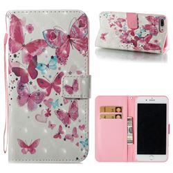 Heart Butterfly 3D Painted Leather Wallet Case for iPhone 8 Plus / 7 Plus 7P(5.5 inch)