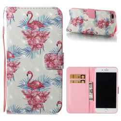 Flamingo and Azaleas 3D Painted Leather Wallet Case for iPhone 8 Plus / 7 Plus 7P(5.5 inch)
