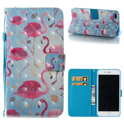 Foraging Flamingo 3D Painted Leather Wallet Case for iPhone 8 Plus / 7 Plus 7P(5.5 inch)