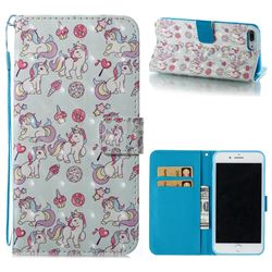 Playing Pony 3D Painted Leather Wallet Case for iPhone 8 Plus / 7 Plus 7P(5.5 inch)