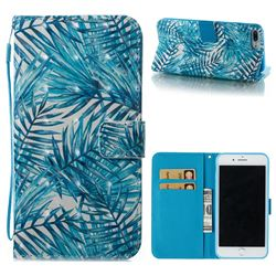 Banana Leaves 3D Painted Leather Wallet Case for iPhone 8 Plus / 7 Plus 7P(5.5 inch)
