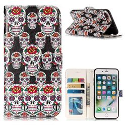 Flower Skull 3D Relief Oil PU Leather Wallet Case for iPhone 8 Plus / 7 Plus 7P(5.5 inch)