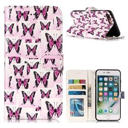 Butterflies Stickers 3D Relief Oil PU Leather Wallet Case for iPhone 8 Plus / 7 Plus 7P(5.5 inch)