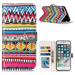 Tribal Pattern 3D Relief Oil PU Leather Wallet Case for iPhone 8 Plus / 7 Plus 7P(5.5 inch)