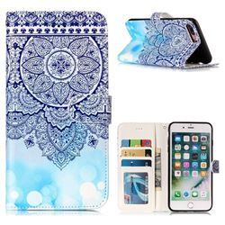 Totem Flower 3D Relief Oil PU Leather Wallet Case for iPhone 8 Plus / 7 Plus 7P(5.5 inch)