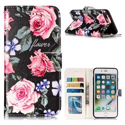 Peony 3D Relief Oil PU Leather Wallet Case for iPhone 8 Plus / 7 Plus 7P(5.5 inch)