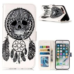 Wind Chimes Skull 3D Relief Oil PU Leather Wallet Case for iPhone 8 Plus / 7 Plus 7P(5.5 inch)