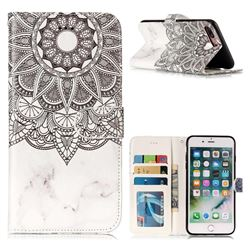 Marble Mandala 3D Relief Oil PU Leather Wallet Case for iPhone 8 Plus / 7 Plus 7P(5.5 inch)