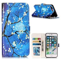 Plum Blossom 3D Relief Oil PU Leather Wallet Case for iPhone 8 Plus / 7 Plus 7P(5.5 inch)