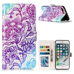 Purple Lotus 3D Relief Oil PU Leather Wallet Case for iPhone 8 Plus / 7 Plus 7P(5.5 inch)