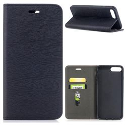 Tree Bark Pattern Automatic suction Leather Wallet Case for iPhone 8 Plus / 7 Plus 7P(5.5 inch) - Black