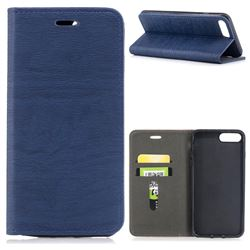 Tree Bark Pattern Automatic suction Leather Wallet Case for iPhone 8 Plus / 7 Plus 7P(5.5 inch) - Blue