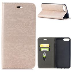 Tree Bark Pattern Automatic suction Leather Wallet Case for iPhone 8 Plus / 7 Plus 7P(5.5 inch) - Champagne Gold