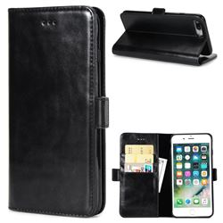 Luxury Crazy Horse PU Leather Wallet Case for iPhone 8 Plus / 7 Plus 7P(5.5 inch) - Black