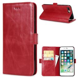 Luxury Crazy Horse PU Leather Wallet Case for iPhone 8 Plus / 7 Plus 7P(5.5 inch) - Red