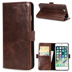 Luxury Crazy Horse PU Leather Wallet Case for iPhone 8 Plus / 7 Plus 7P(5.5 inch) - Coffee