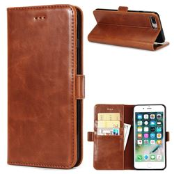 Luxury Crazy Horse PU Leather Wallet Case for iPhone 8 Plus / 7 Plus 7P(5.5 inch) - Brown