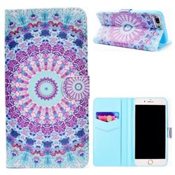 Mint Green Mandala Flower Stand Leather Wallet Case for iPhone 8 Plus / 7 Plus 7P(5.5 inch)