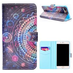 Universe Mandala Flower Stand Leather Wallet Case for iPhone 8 Plus / 7 Plus 7P(5.5 inch)