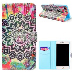 Colorful Mandala Flower Stand Leather Wallet Case for iPhone 8 Plus / 7 Plus 7P(5.5 inch)