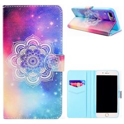 Sky Mandala Flower Stand Leather Wallet Case for iPhone 8 Plus / 7 Plus 7P(5.5 inch)