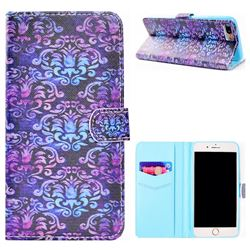 Royal Mandala Flower Stand Leather Wallet Case for iPhone 8 Plus / 7 Plus 7P(5.5 inch)