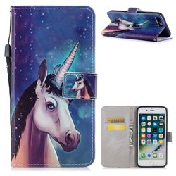 Blue Unicorn PU Leather Wallet Case for iPhone 8 Plus / 7 Plus 7P(5.5 inch)