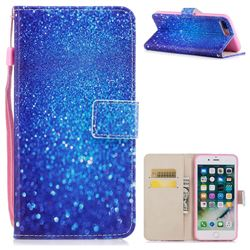 Blue Powder PU Leather Wallet Case for iPhone 8 Plus / 7 Plus 7P(5.5 inch)