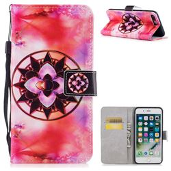 Red Mandala PU Leather Wallet Case for iPhone 8 Plus / 7 Plus 7P(5.5 inch)