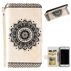 Embossed Datura Flower PU Leather Wallet Case for iPhone 8 Plus / 7 Plus 7P(5.5 inch) - White