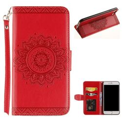 Embossed Datura Flower PU Leather Wallet Case for iPhone 8 Plus / 7 Plus 7P(5.5 inch) - Red