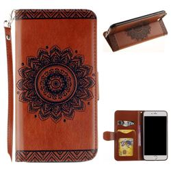 Embossed Datura Flower PU Leather Wallet Case for iPhone 8 Plus / 7 Plus 7P(5.5 inch) - Brown