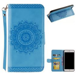 Embossed Datura Flower PU Leather Wallet Case for iPhone 8 Plus / 7 Plus 7P(5.5 inch) - Blue
