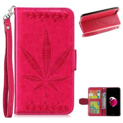 Intricate Embossing Maple Leather Wallet Case for iPhone 8 Plus / 7 Plus 7P(5.5 inch) - Rose