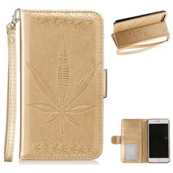 Intricate Embossing Maple Leather Wallet Case for iPhone 8 Plus / 7 Plus 7P(5.5 inch) - Champagne