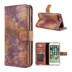 Luxury Retro Forest Series Leather Wallet Case for iPhone 8 Plus / 7 Plus 7P(5.5 inch) - Purple