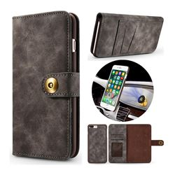 Luxury Vintage Split Separated Leather Wallet Case for iPhone 8 Plus / 7 Plus 7P(5.5 inch) - Black