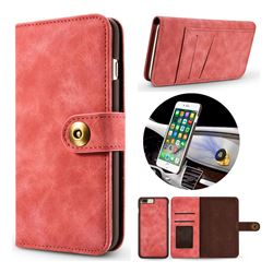 Luxury Vintage Split Separated Leather Wallet Case for iPhone 8 Plus / 7 Plus 7P(5.5 inch) - Carmine
