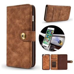 Luxury Vintage Split Separated Leather Wallet Case for iPhone 8 Plus / 7 Plus 7P(5.5 inch) - Brown