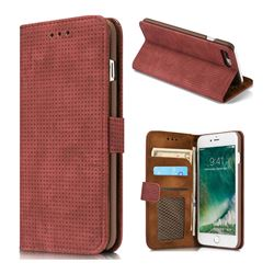 Luxury Vintage Mesh Monternet Leather Wallet Case for iPhone 8 Plus / 7 Plus 7P(5.5 inch) - Rose