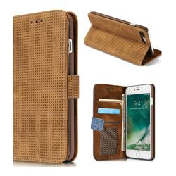 Luxury Vintage Mesh Monternet Leather Wallet Case for iPhone 8 Plus / 7 Plus 7P(5.5 inch) - Brown