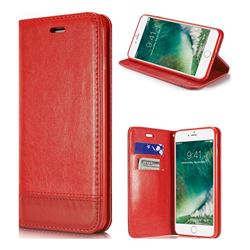 Magnetic Suck Stitching Slim Leather Wallet Case for iPhone 8 Plus / 7 Plus 7P(5.5 inch) - Red