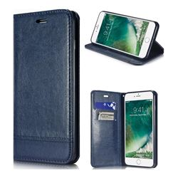 Magnetic Suck Stitching Slim Leather Wallet Case for iPhone 8 Plus / 7 Plus 7P(5.5 inch) - Sapphire
