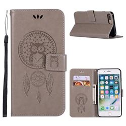 Intricate Embossing Owl Campanula Leather Wallet Case for iPhone 8 Plus / 7 Plus 7P(5.5 inch) - Grey