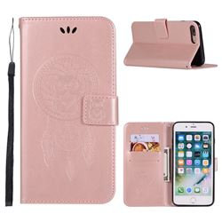 Intricate Embossing Owl Campanula Leather Wallet Case for iPhone 8 Plus / 7 Plus 7P(5.5 inch) - Rose Gold