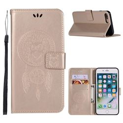 Intricate Embossing Owl Campanula Leather Wallet Case for iPhone 8 Plus / 7 Plus 7P(5.5 inch) - Champagne