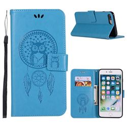 Intricate Embossing Owl Campanula Leather Wallet Case for iPhone 8 Plus / 7 Plus 7P(5.5 inch) - Blue
