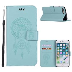 Intricate Embossing Owl Campanula Leather Wallet Case for iPhone 8 Plus / 7 Plus 7P(5.5 inch) - Green