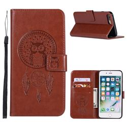 Intricate Embossing Owl Campanula Leather Wallet Case for iPhone 8 Plus / 7 Plus 7P(5.5 inch) - Brown